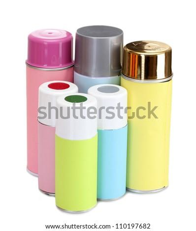 aerosol cans isolated on white - stock photo