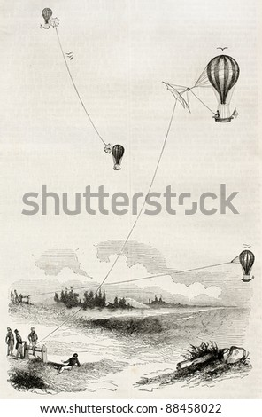 Aerostats old illustration. By unidentified author, published on Magasin Pittoresque, Paris, 1844 - stock photo