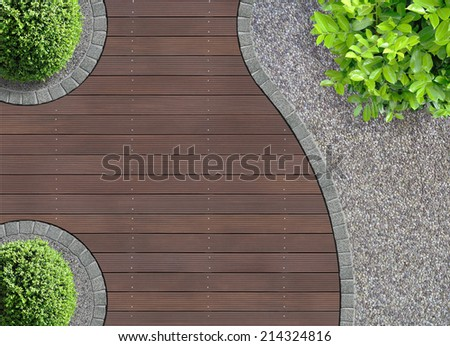 aesthetic garden design detail seen from above - stock photo