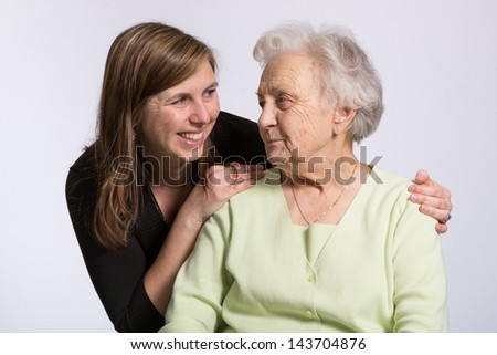Affection Between Grandmother and Granddaughter - stock photo