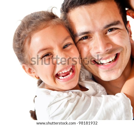 Affectionate father and daughter smiling - isolated over a white background