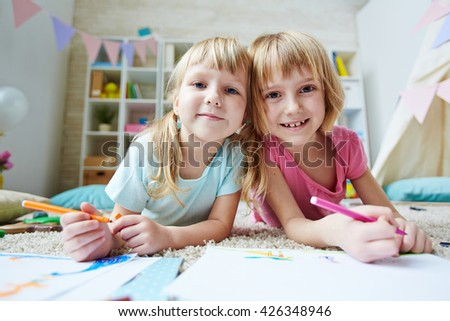 Affectionate siblings - stock photo