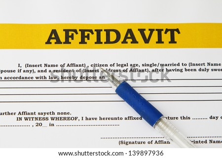 Affidavit blank form with blue pen abstract. - stock photo