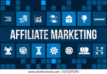 affiliate marketing concept image with business icons and copyspace. - stock photo