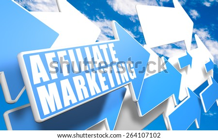 Affiliate Marketing 3d render concept with blue and white arrows flying in a blue sky with clouds - stock photo