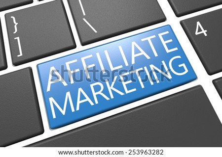 Affiliate Marketing - keyboard 3d render illustration with word on blue key - stock photo