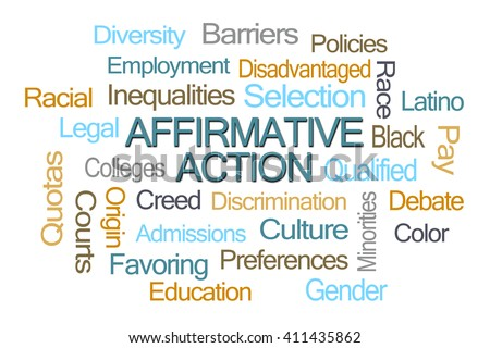 Affirmative Action Word Cloud on White Background - stock photo