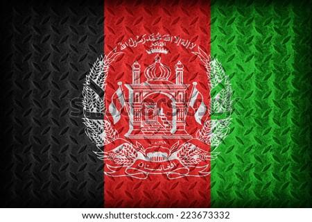 Afghanistan flag pattern on the diamond metal plate texture ,vintage style - stock photo