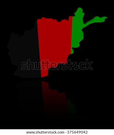 Afghanistan map flag with reflection illustration - stock photo