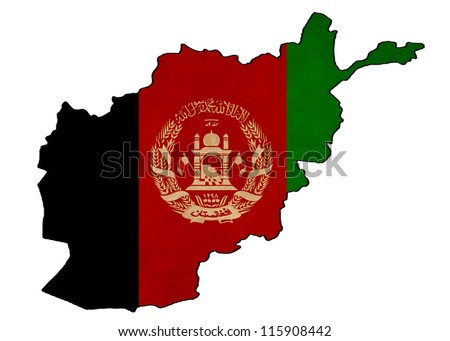 Afghanistan map on Afghanistan flag drawing ,grunge and retro flag series - stock photo