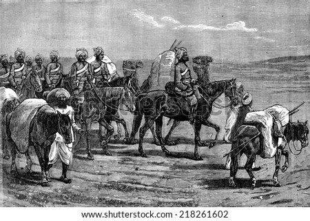 Afghanistan. Riders of the Indian contingent, vintage engraved illustration. Journal des Voyages, Travel Journal, (1879-80).