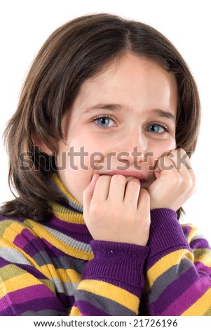 Afraid girl on a over white background