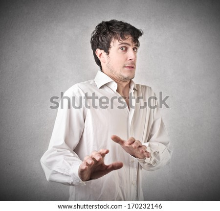 Afraid Guy - stock photo