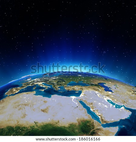 Africa and Mediterranean. Elements of this image furnished by NASA - stock photo