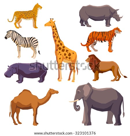 Africa animal decorative set with leopard zebra hippo giraffe camel elephant lion tiger rhino isolated  illustration  - stock photo