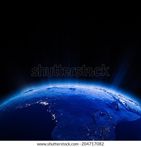 Africa city lights at night. Elements of this image furnished by NASA - stock photo