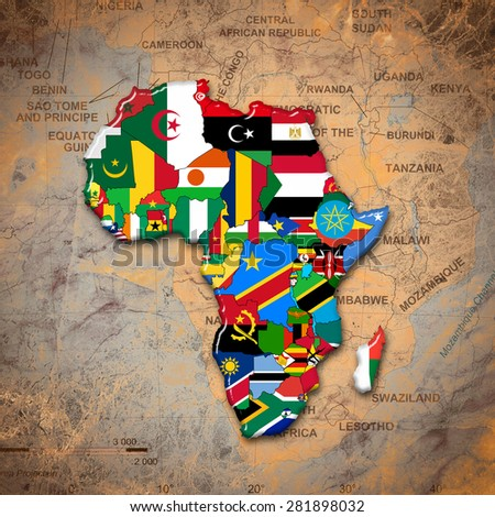 africacontinent flags and map africa background