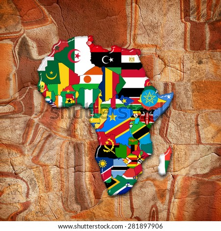 Africa,continent, flags, map and wall background - stock photo