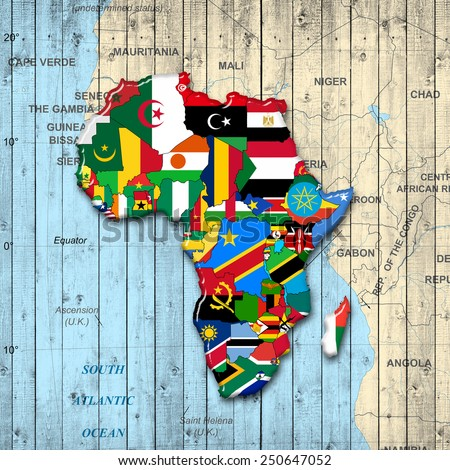 Africa,continent, flags, map and wood background