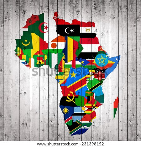 Africa,continent, flags, maps,and wood background - stock photo