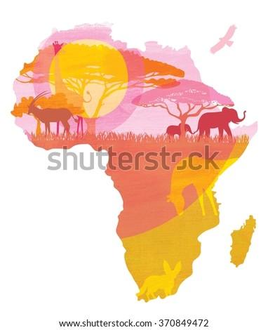 Africa continent sunset illustration. Africa continent with flora and fauna. Animals, elephant, zebra, tree. Savanna illustration. Savanna picture. African continent illustration. - stock photo