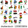 Africa countries(From A to L) flag maps on a white background - stock photo