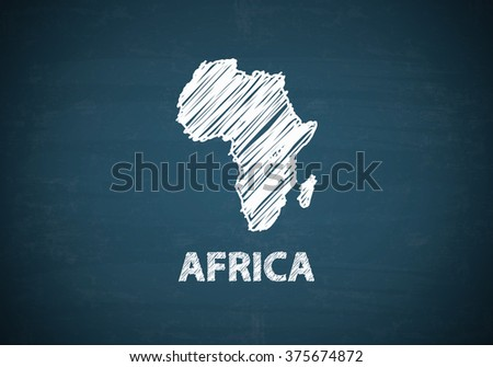 AFRICA draw map on blue chalk board , business concept , business idea - stock photo