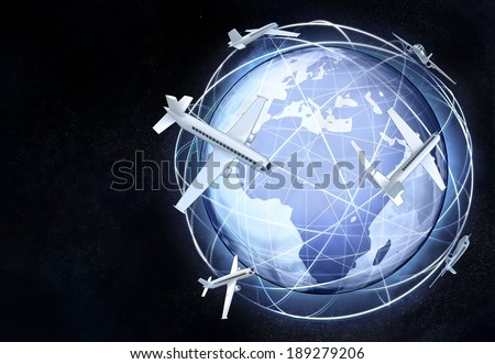 Africa earth globe view with flying airplanes illustration - stock photo