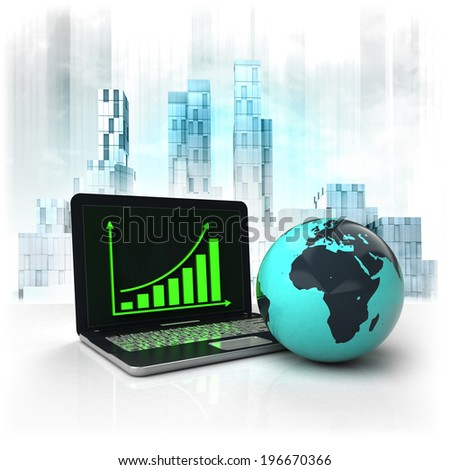 Africa earth globe with positive online results in business district illustration - stock photo