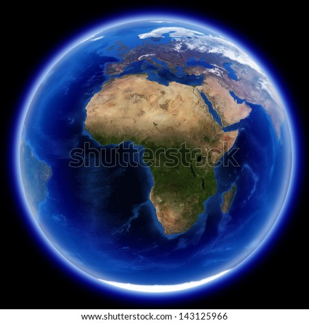 Africa, europe and asia map isolated on black, Earth globe image provided by NASA - stock photo