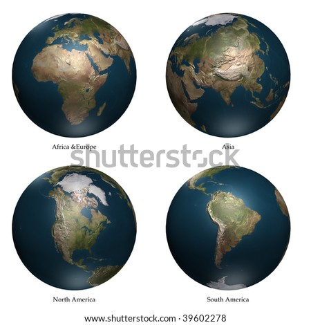 Africa- Europe - Asia- America aspect of Earth - stock photo