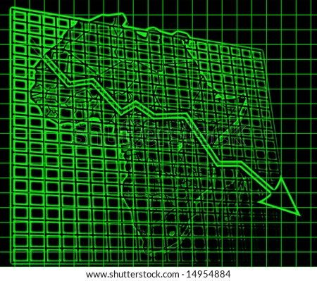 Africa financial chart of Africa downwards arrow, retro computer scan look graphic