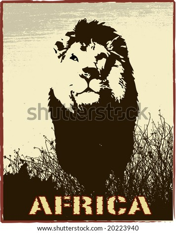 Africa image with lion silhouette - stock photo