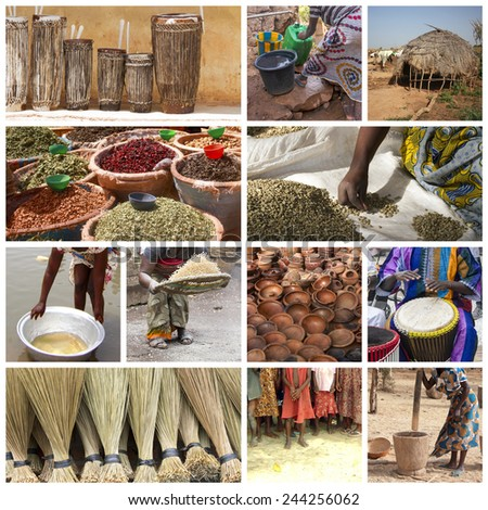 Africa life collage - stock photo