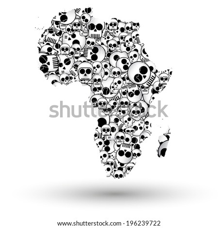 Africa map in the form of skulls background illustration - stock photo
