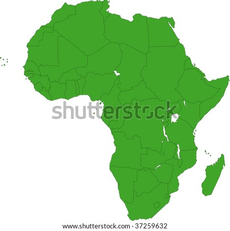 Africa map with countries - stock photo