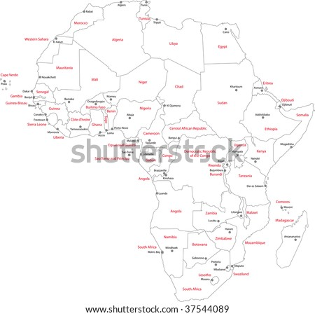 Africa Map Countries Capital Cities Stock Illustration - Africa map with cities
