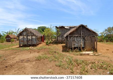 Africa, Mozambique, wooden stilt houses - stock photo