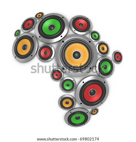 Africa music continent - many loudspeakers forming the shape of the African continent - stock photo