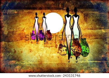 Africa retro vintage style - stock photo