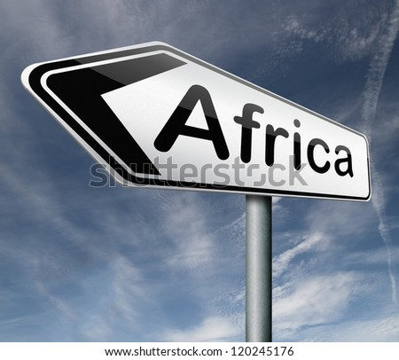Africa road sign arrow continent tourism africa travel button africa icon - stock photo