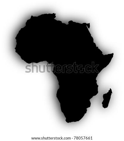 Africa's black map - stock photo