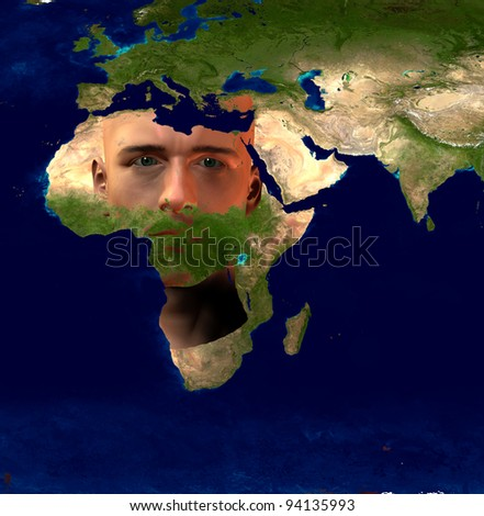Africa superimposed on Mans face - stock photo