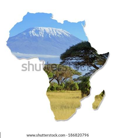Africa Wildlife Map Design - Isolated on White - stock photo