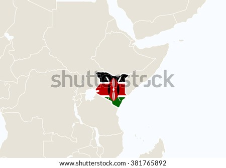 Africa with highlighted Kenya map. Rasterized Copy.  - stock photo