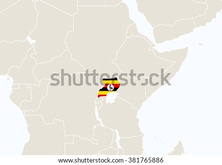 Africa with highlighted Uganda map. Rasterized Copy.  - stock photo