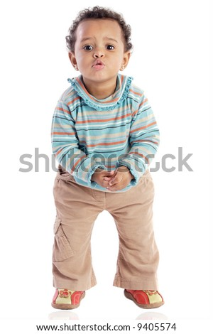 African american baby a over white background - stock photo