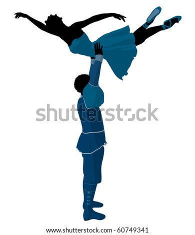 African american ballet couple silhouette on a white background