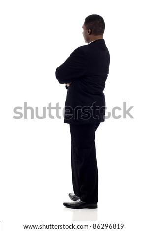 African American, Black business man from the back looking at something isolated white background - stock photo