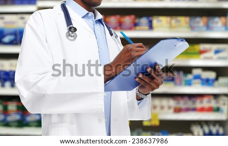 African-American black doctor man over blue background. - stock photo